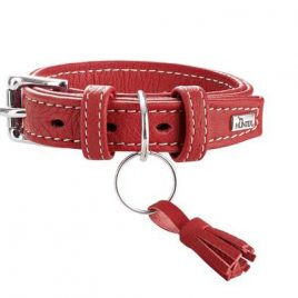 Hunter Cannes 50cm Raspberry Leather Collar