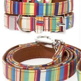 Urban Pup Henley Striped Collar & lead set Medium