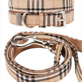 Urban Pup Brown Checked Tartan Collar & Lead Set